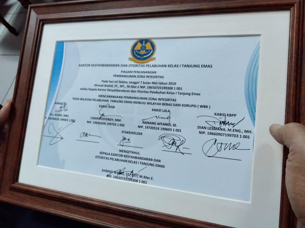 Bea Cukai Tanjung Emas Dukung Pencanangan Zona Intergritas KSOP Tanjung Emas